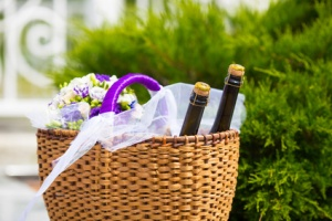 Wicker basket with bottles